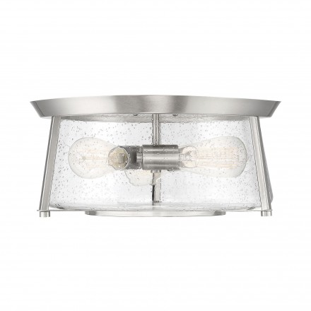Savoy House Europe Dash 3 Light Satin Nickel Flush Mount