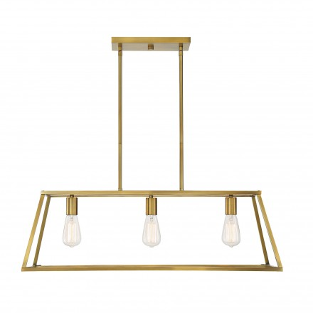 Savoy House Europe Denton 3 Light Warm Brass Linear Chandelier