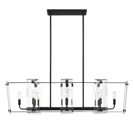 Savoy House Europe Everett Matte Black 8 Light Linear Chandelier