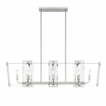 Savoy House Europe Everett Satin Nickel 8 Light Linear Chandelier
