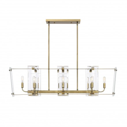 Savoy House Europe Everett Warm Brass 8 Light Linear Chandelier