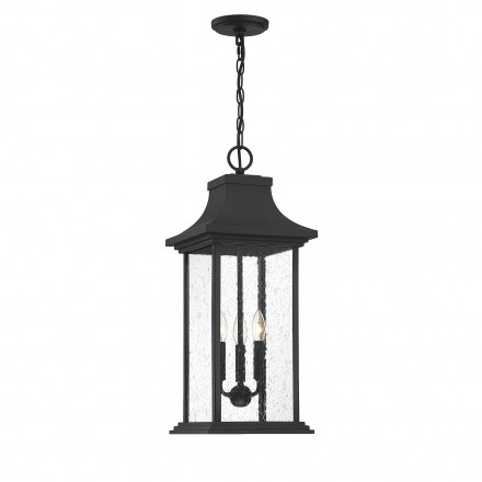 Savoy House Europe Hancock Matte Black 3 Light Outdoor Pendant
